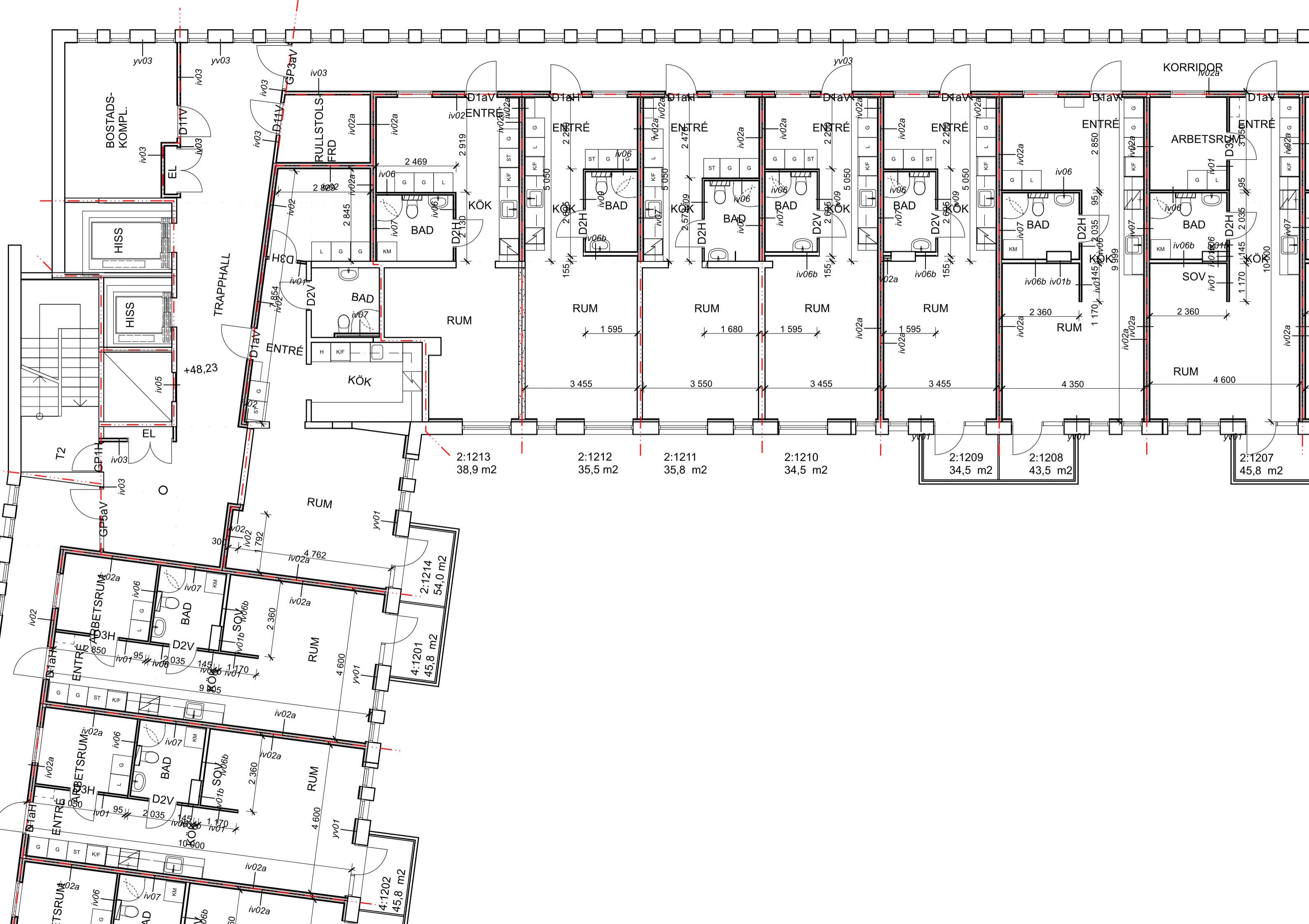Пример исходных чертежей. План этажа